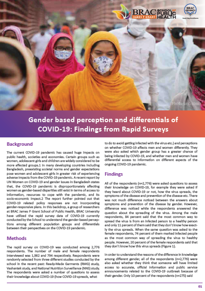 Gender-based perception and differentials of COVID-19: Findings from rapid surveys