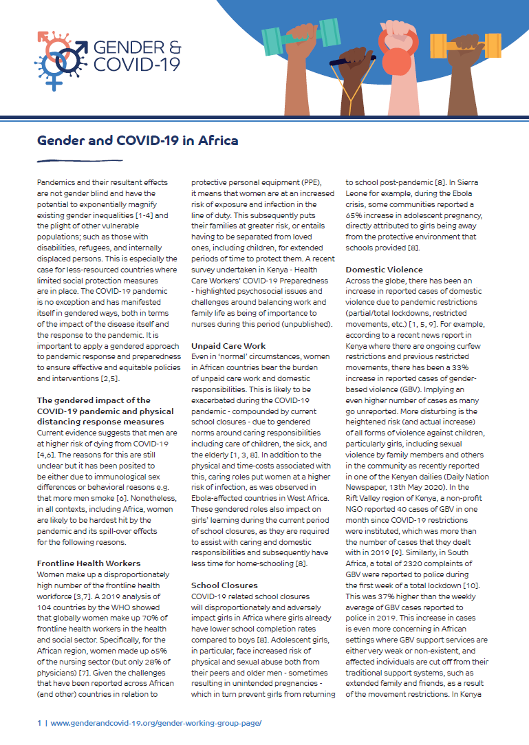 Gender and COVID-19 in Africa