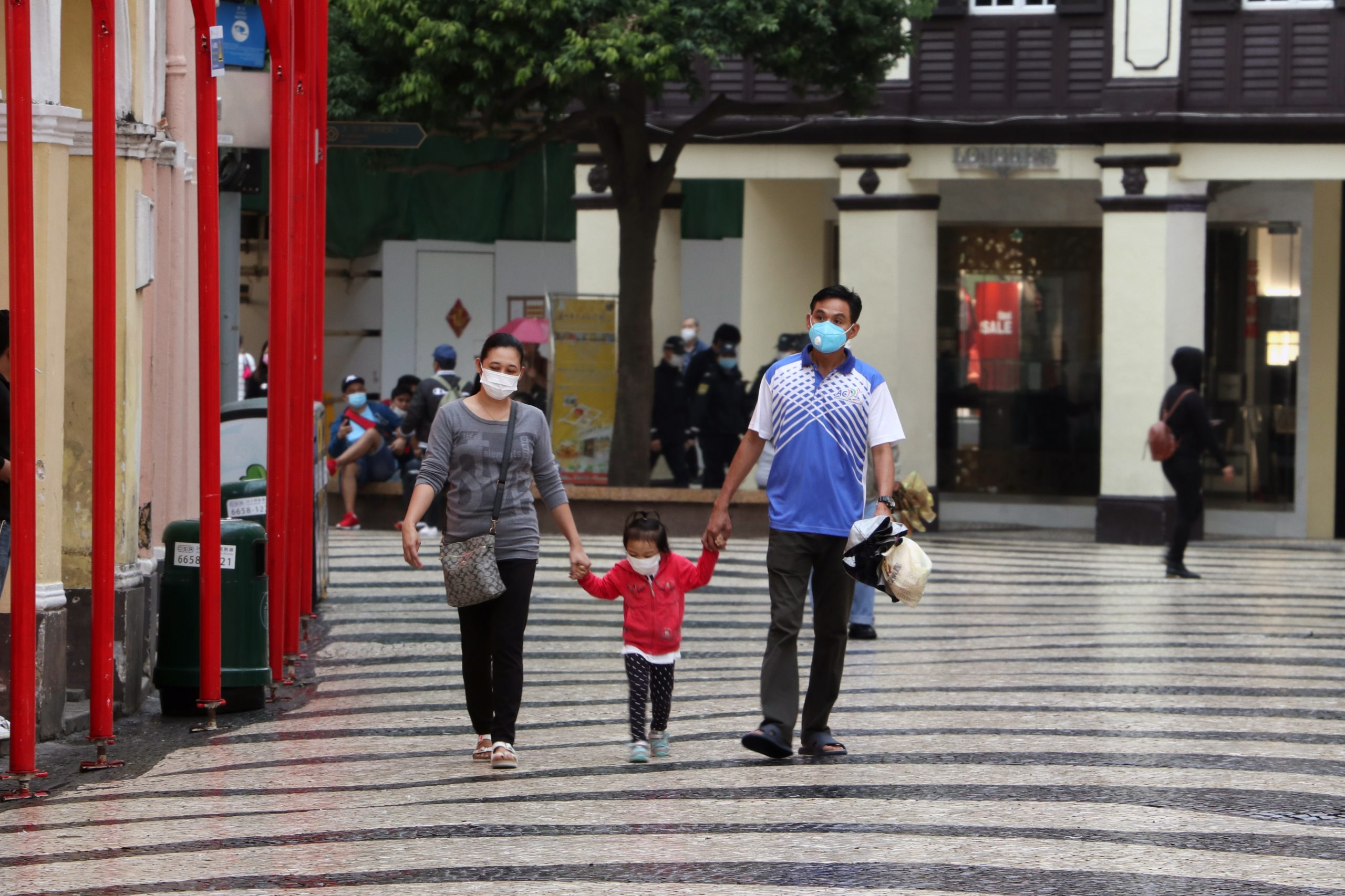 China family in masks