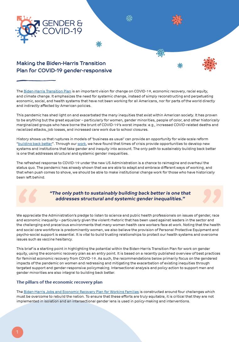 Making the Biden-Harris Transition Plan for COVID-19 gender-responsive