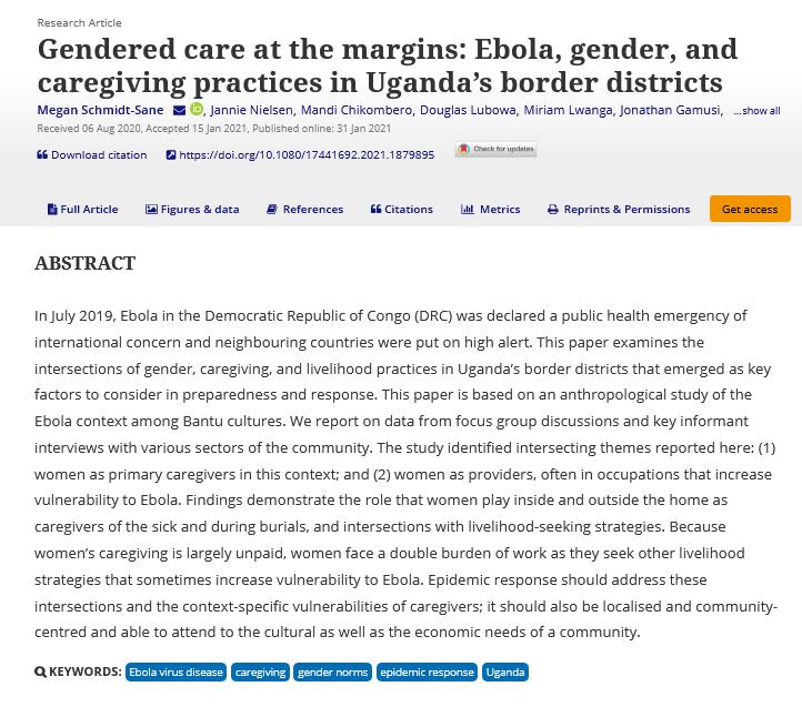 Gendered care at the margins - Ebola, gender, and caregiving practices in Uganda%u2019s border districts