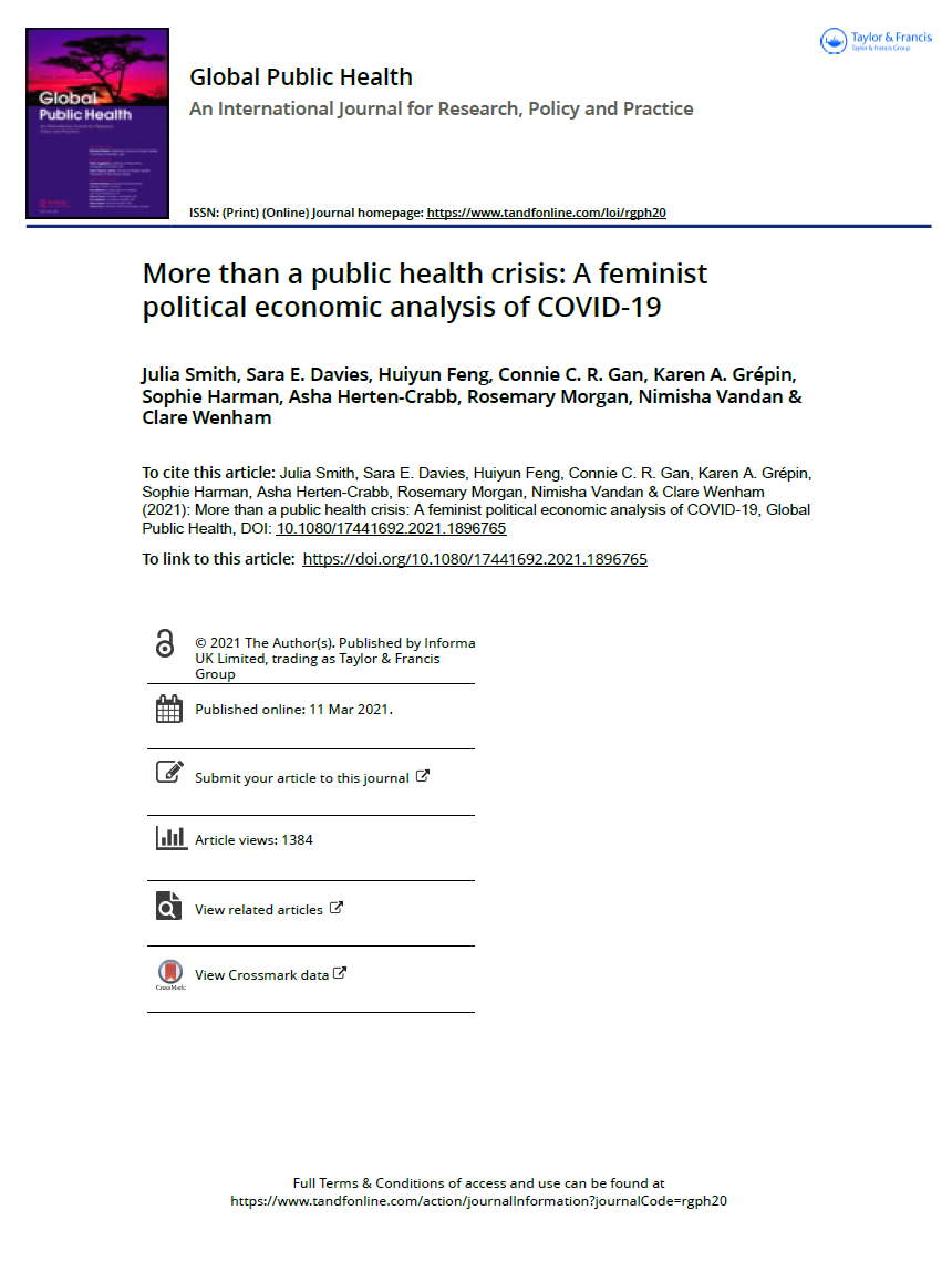 More then a public health crisis A feminist political analysis of COVID 19