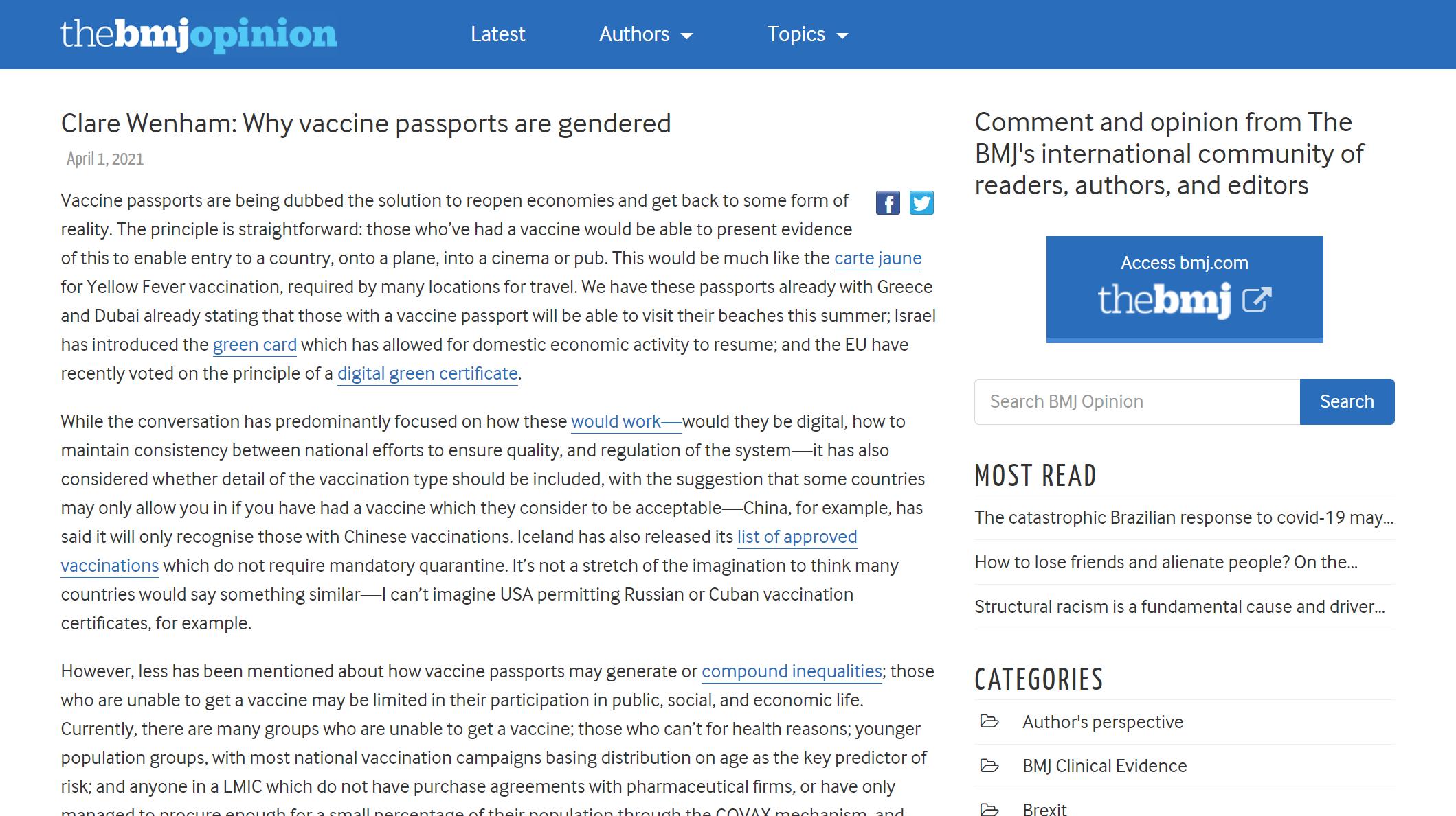 Why vaccine passports are gendered