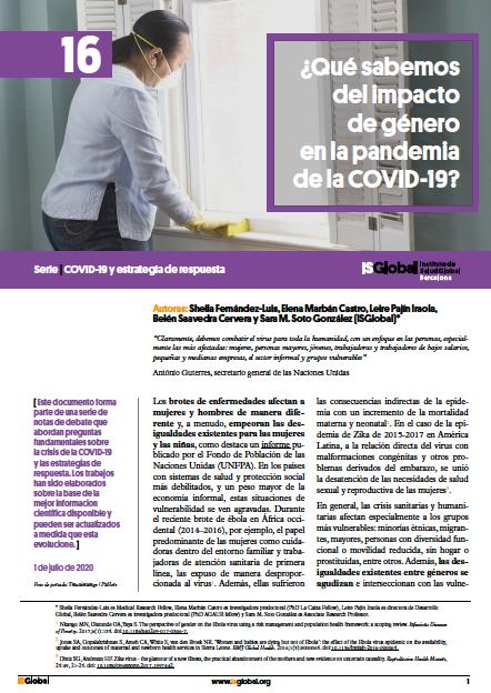 ¿Qué sabemos del impacto de género en la pandemia de la COVID-19