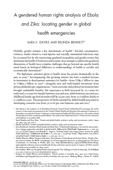 A gendered human rights analysis of Ebola