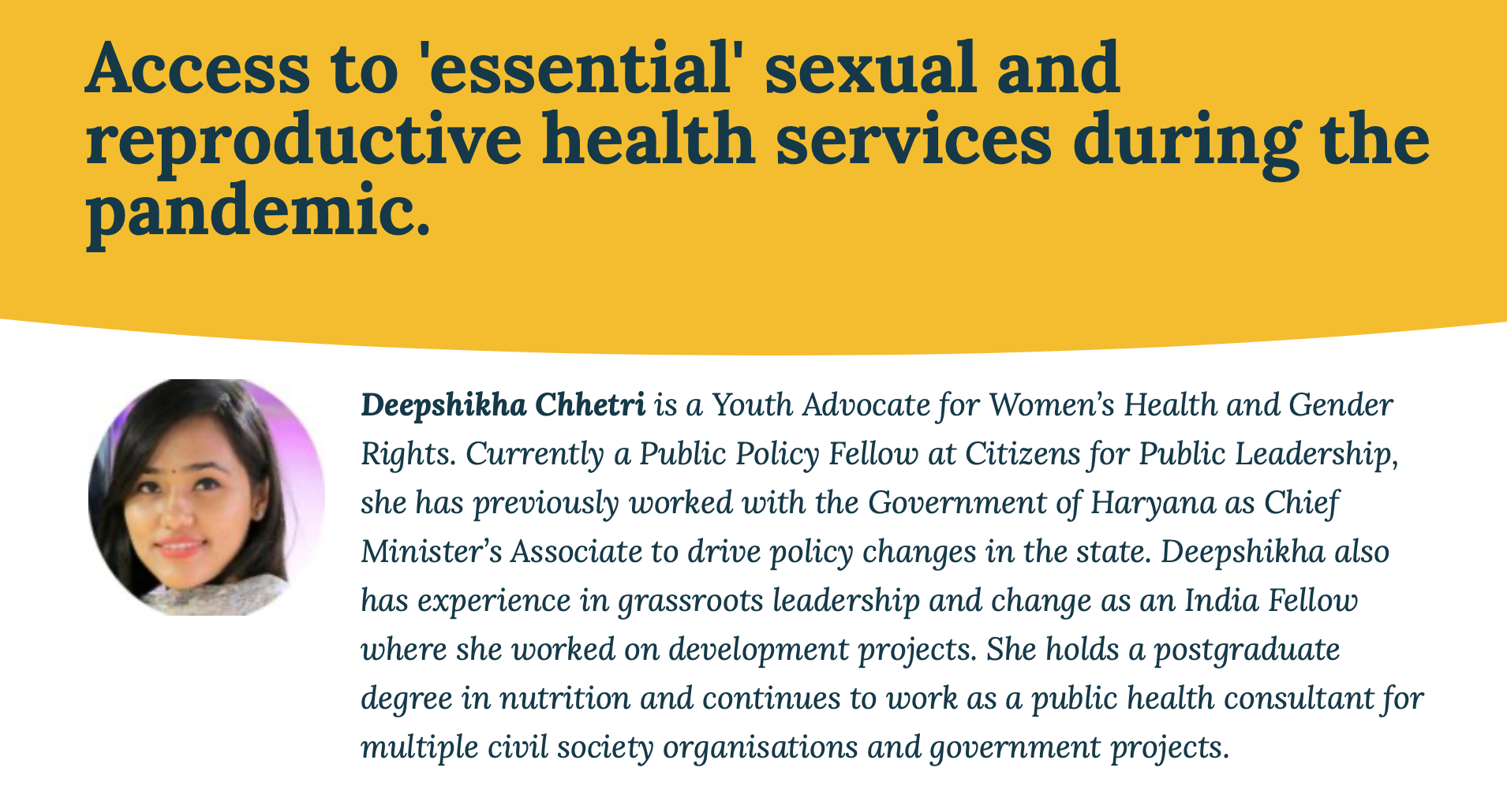 Access to essential sexual and reproductive health services during the pandemic