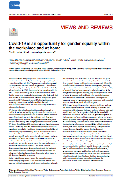 COVID-19 Is an Opportunity for Gender Equality Within the Workplace and at Home