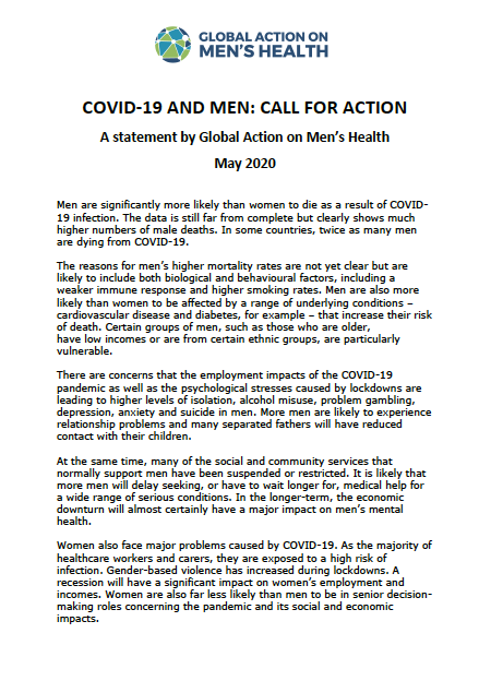 COVID-19 and men- call for action - a statement by global action on men's health