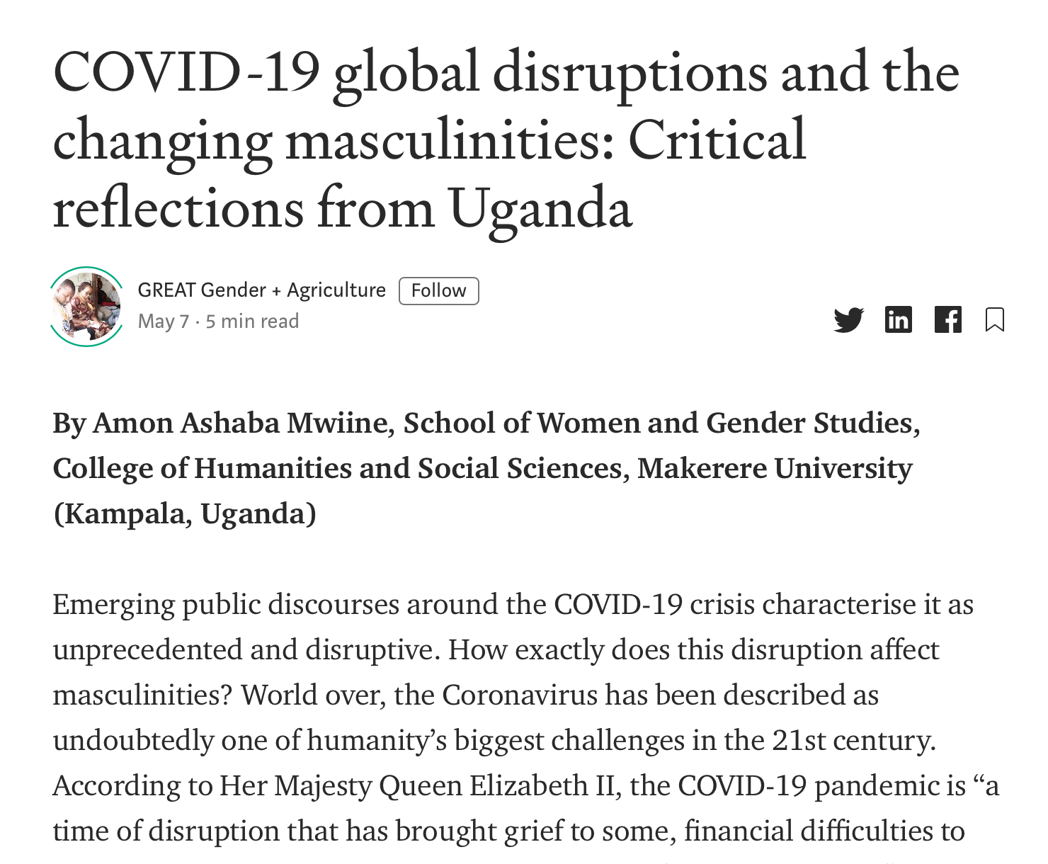 COVID-19 global disruptions and the changing masculinities-Critical reflections from Uganda