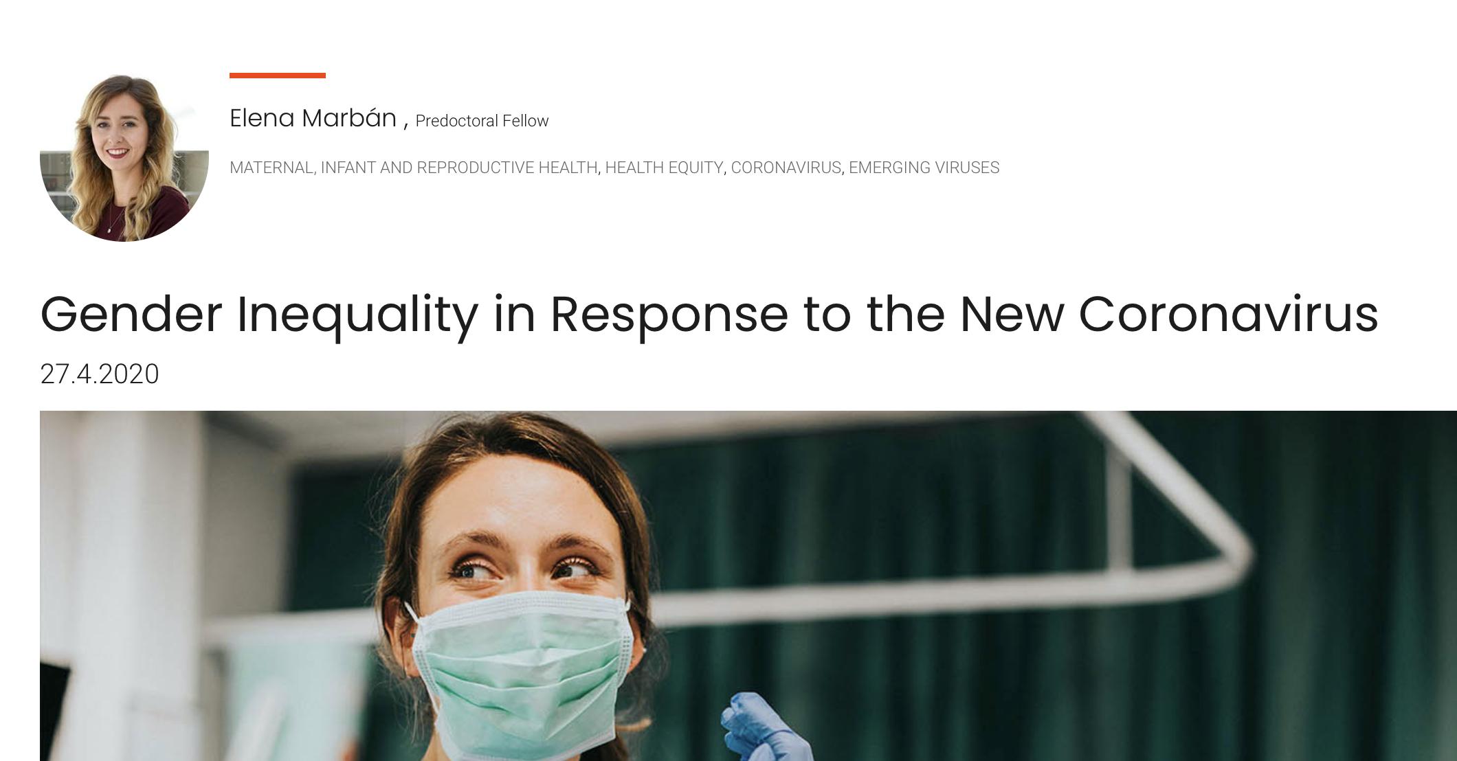 Gender Inequality in Response to the New Coronavirus