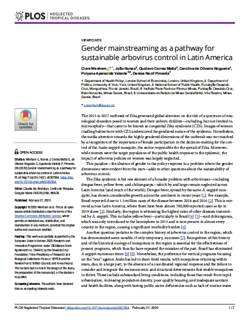 Gender mainstreaming as a pathway for sustainable arbovirus control in Latin America