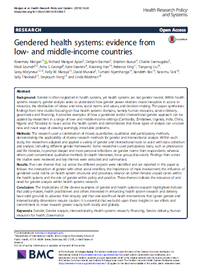 Gendered health systems evidence from low and middle income countries