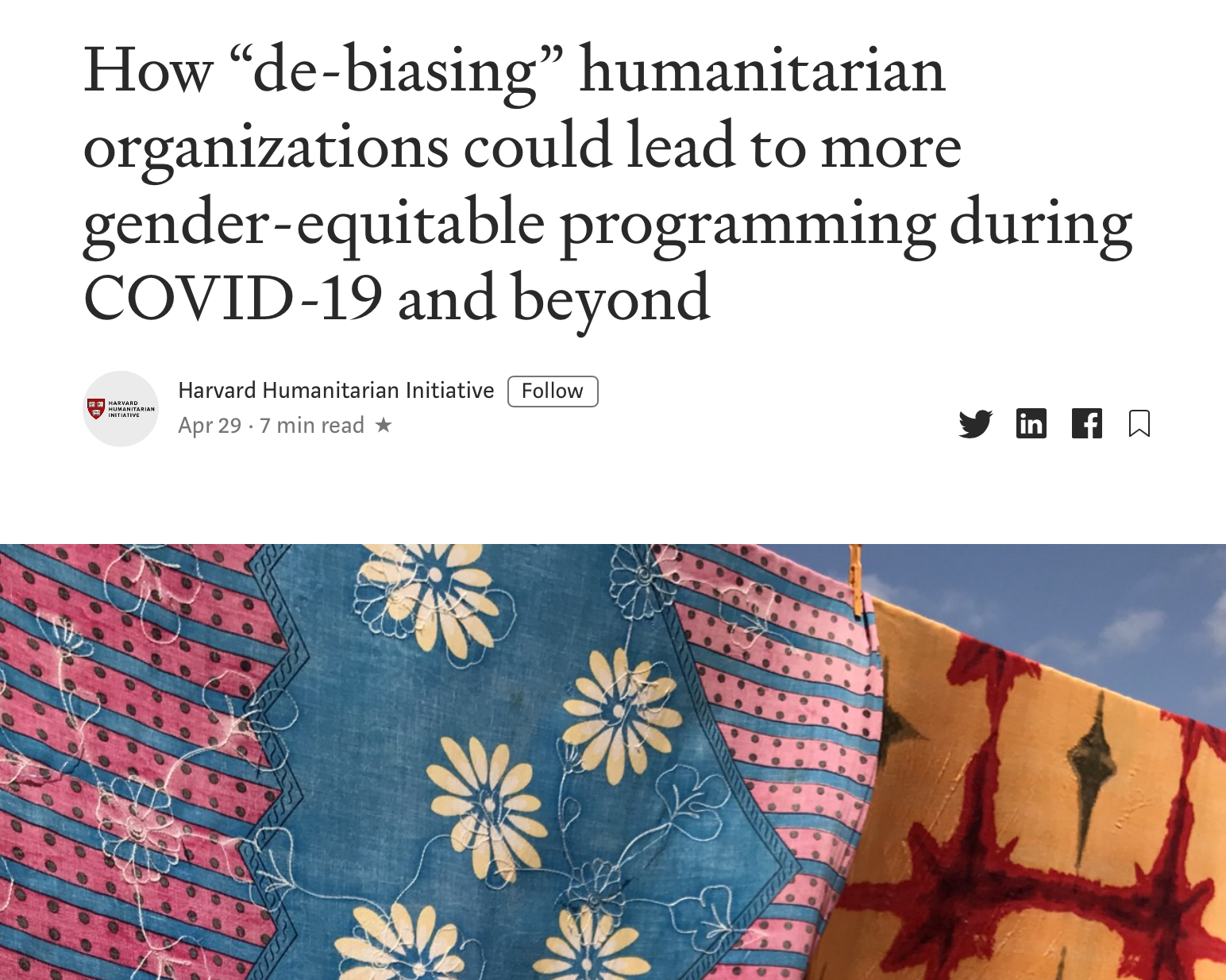 """How """"de-biasing"""" humanitarian organizations could lead to more gender-equitable programming during COVID-19 and beyond"""