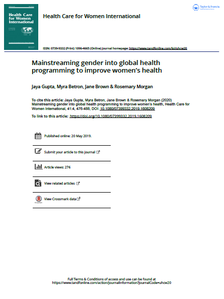 Mainstreaming gender into global women's health programming and policies