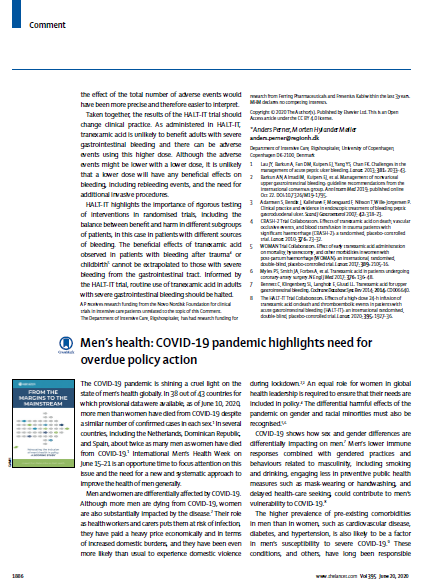 Men's health COVID-19 pandemic highlights need for overdue policy action