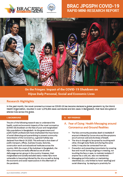 On the Fringes: Impact of the COVID-19 Shutdown on Hijras Daily Personal, Social and Economic Lives
