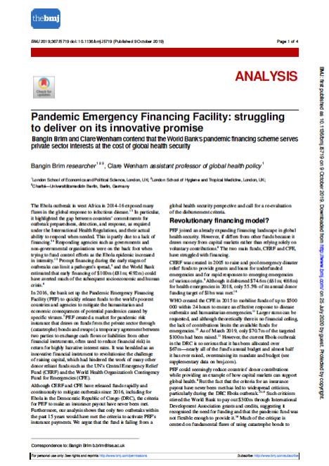 Pandemic Emergency Financing Facility- Struggling to deliver on its innovative promise