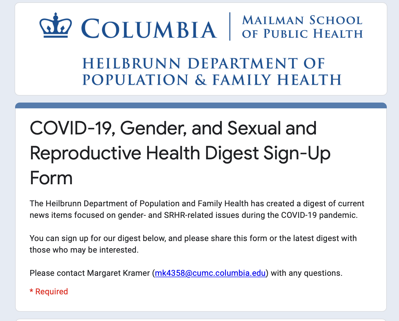 The Heilbrunn Department of Population and Family Health at Columbia Mailman COVID-19, Gender, and Sexual and Reproductive Health Digest