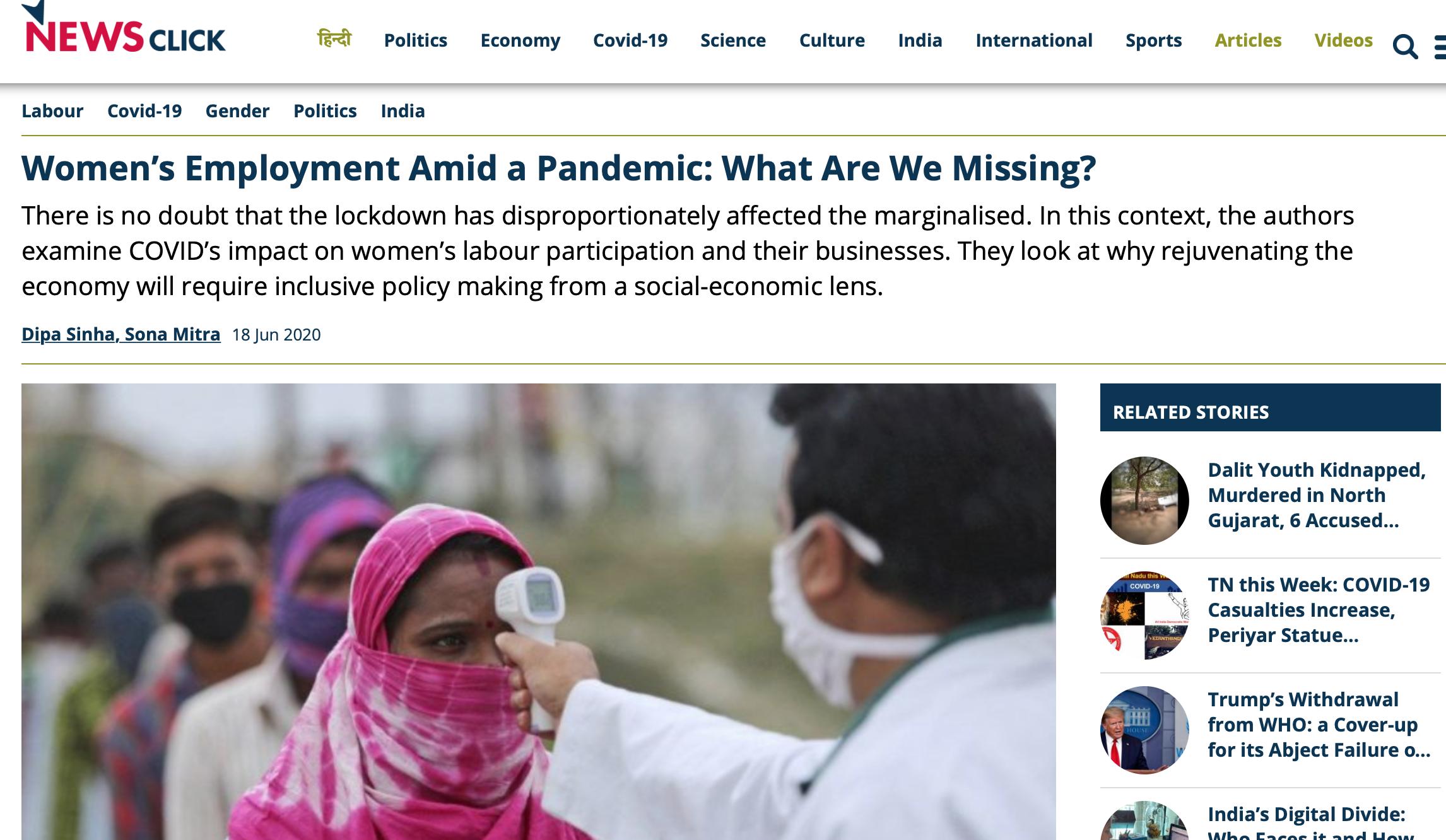 Women's Employment Amid a pandemic