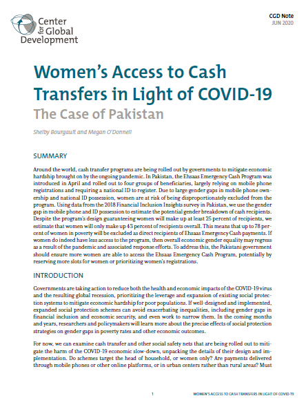 Women's access to cash transfers in light of COVID-19 The case of Pakistan