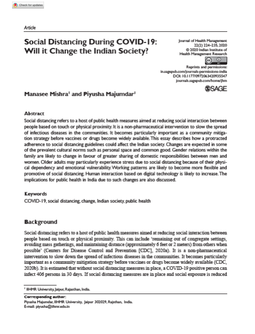 Social Distancing During COVID-19- Will it Change the Indian Society