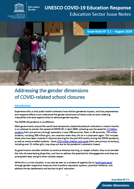 Addressing the gender dimensions of school closures