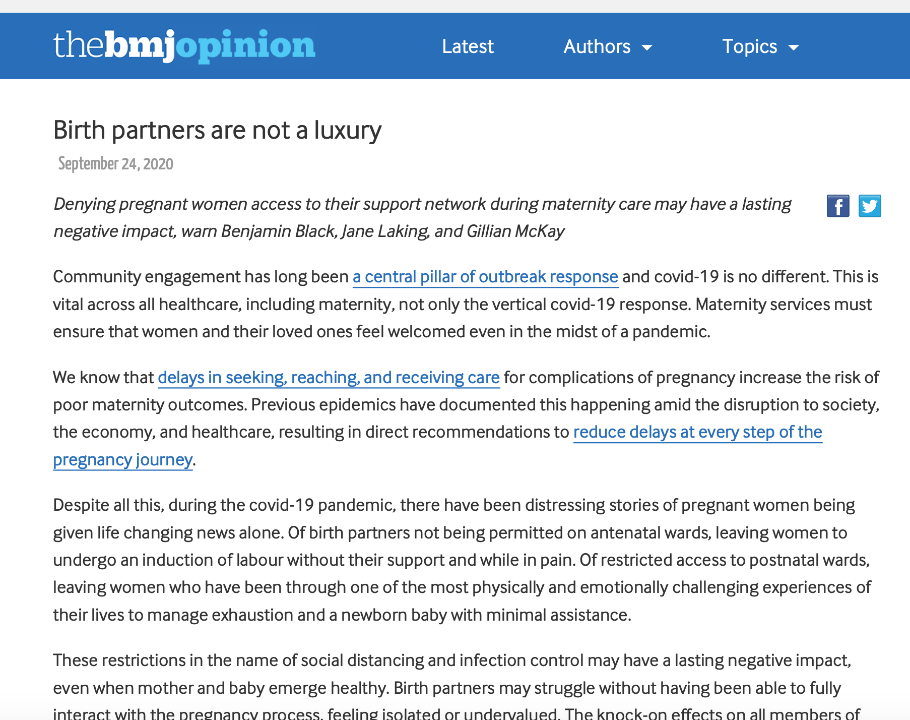 Birth partners are not a luxury