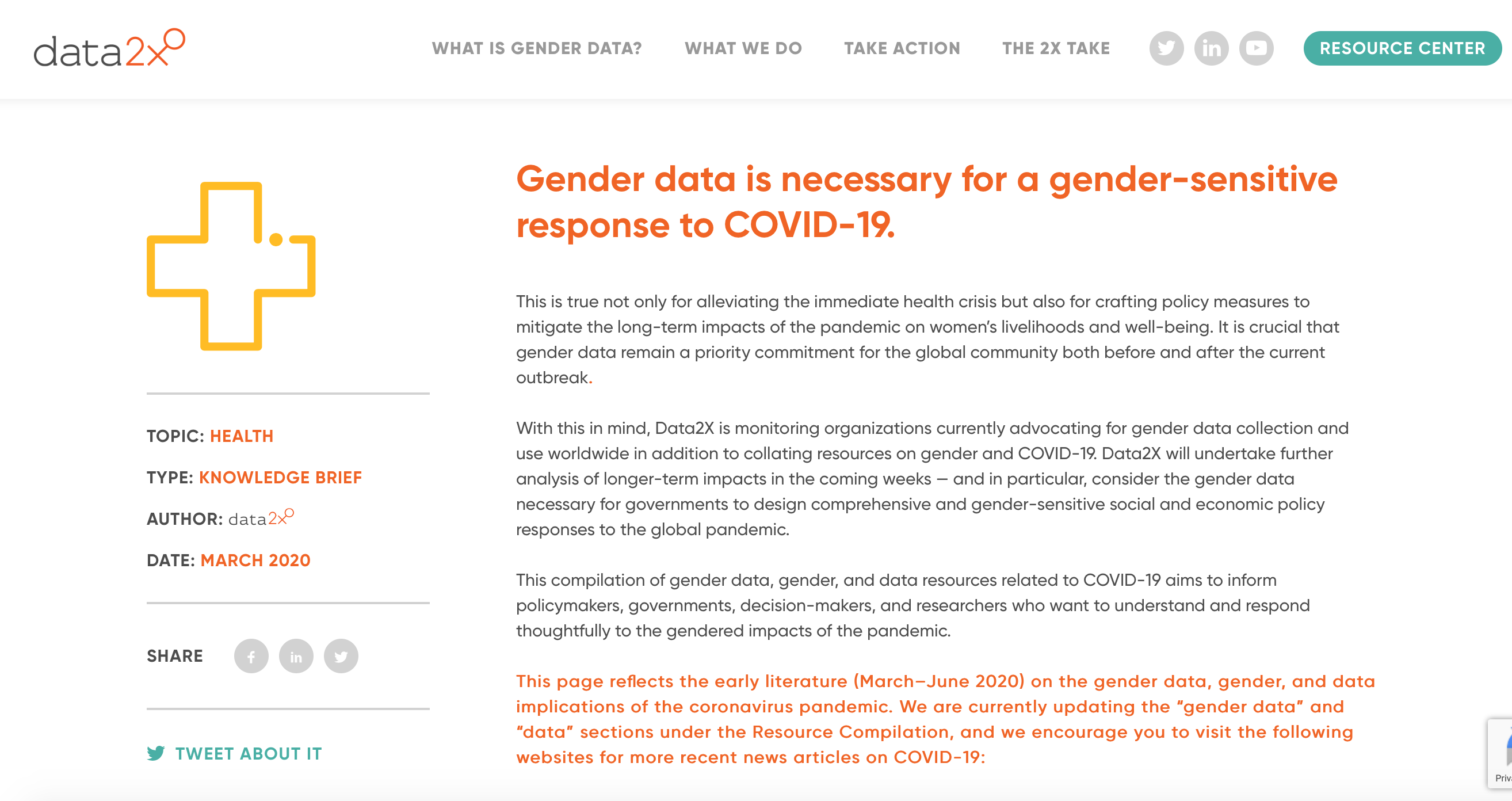 COVID-19 resources: gender data, gender, and data