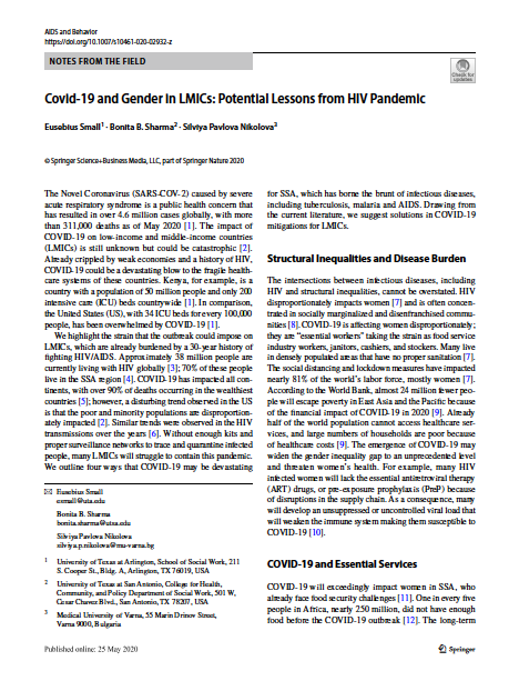 Covid-19 and Gender in LMICs- Potential Lessons from HIV Pandemic