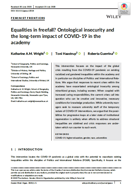 Equalities in freefall? Ontological insecurity and the long‐term impact of COVID‐19 in the academy