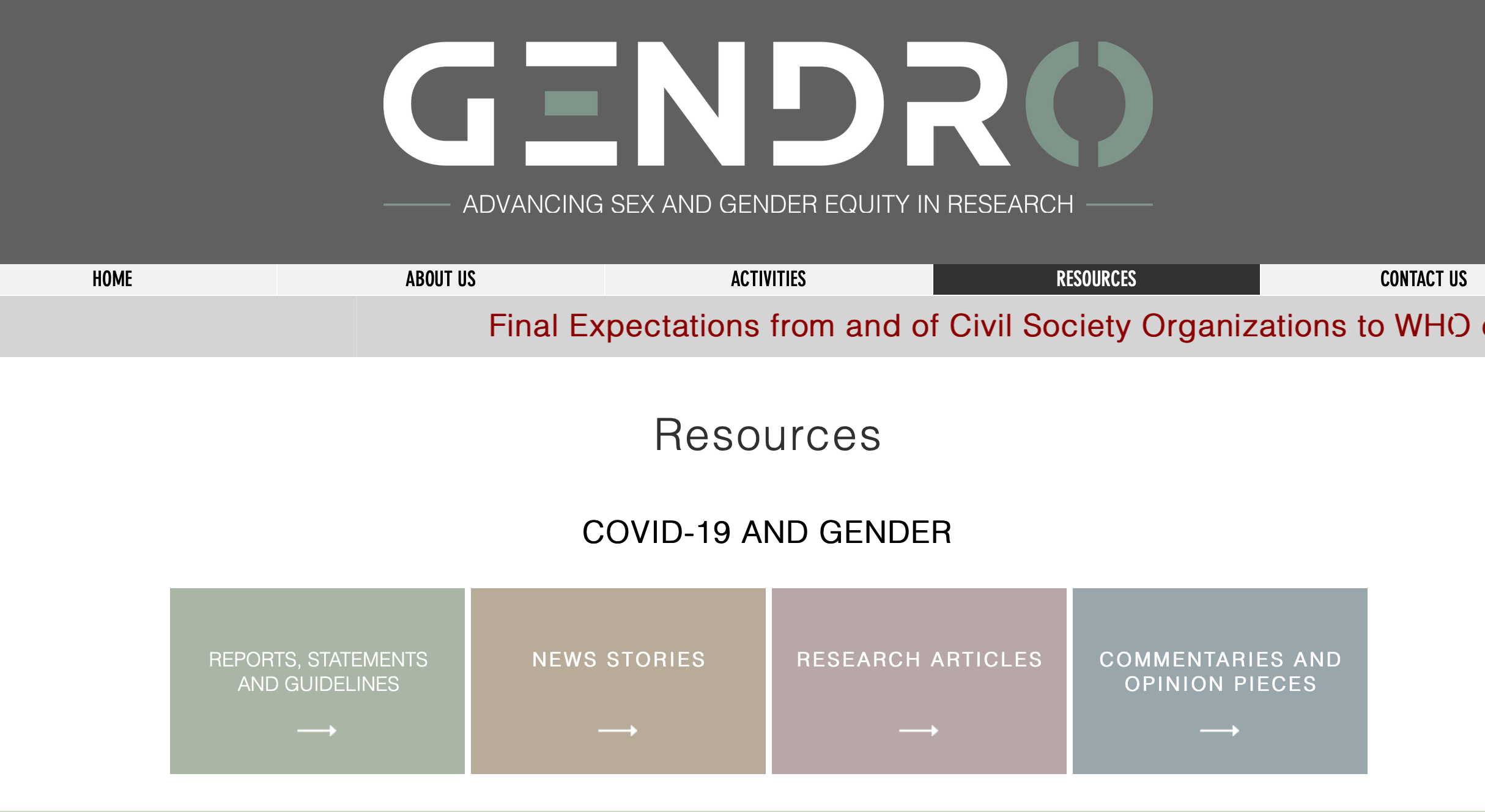 Resources - COVID-19 and Gender