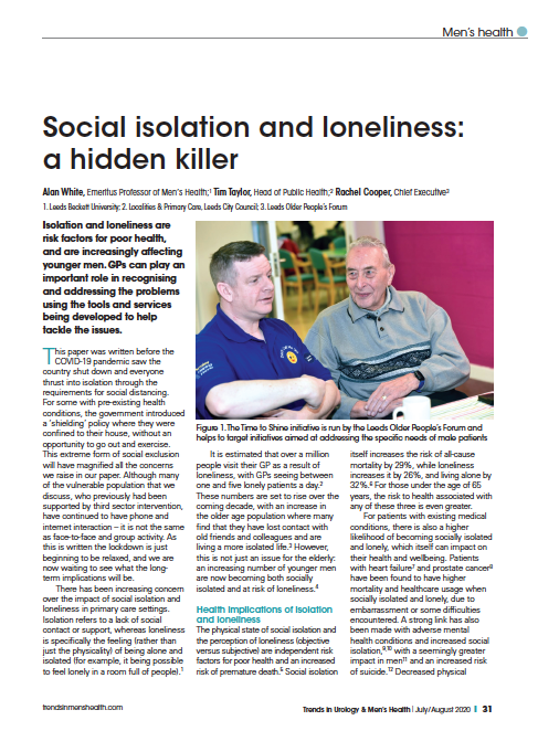 Social isolation and loneliness: a hidden killer