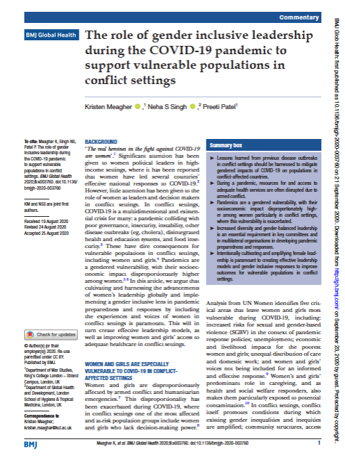 The role of gender inclusive leadership during the COVID-19 pandemic to support vulnerable populations in conflict settings
