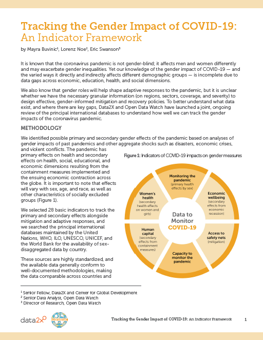 Tracking the Gender Impact of COVID-19- An Indicator Framework