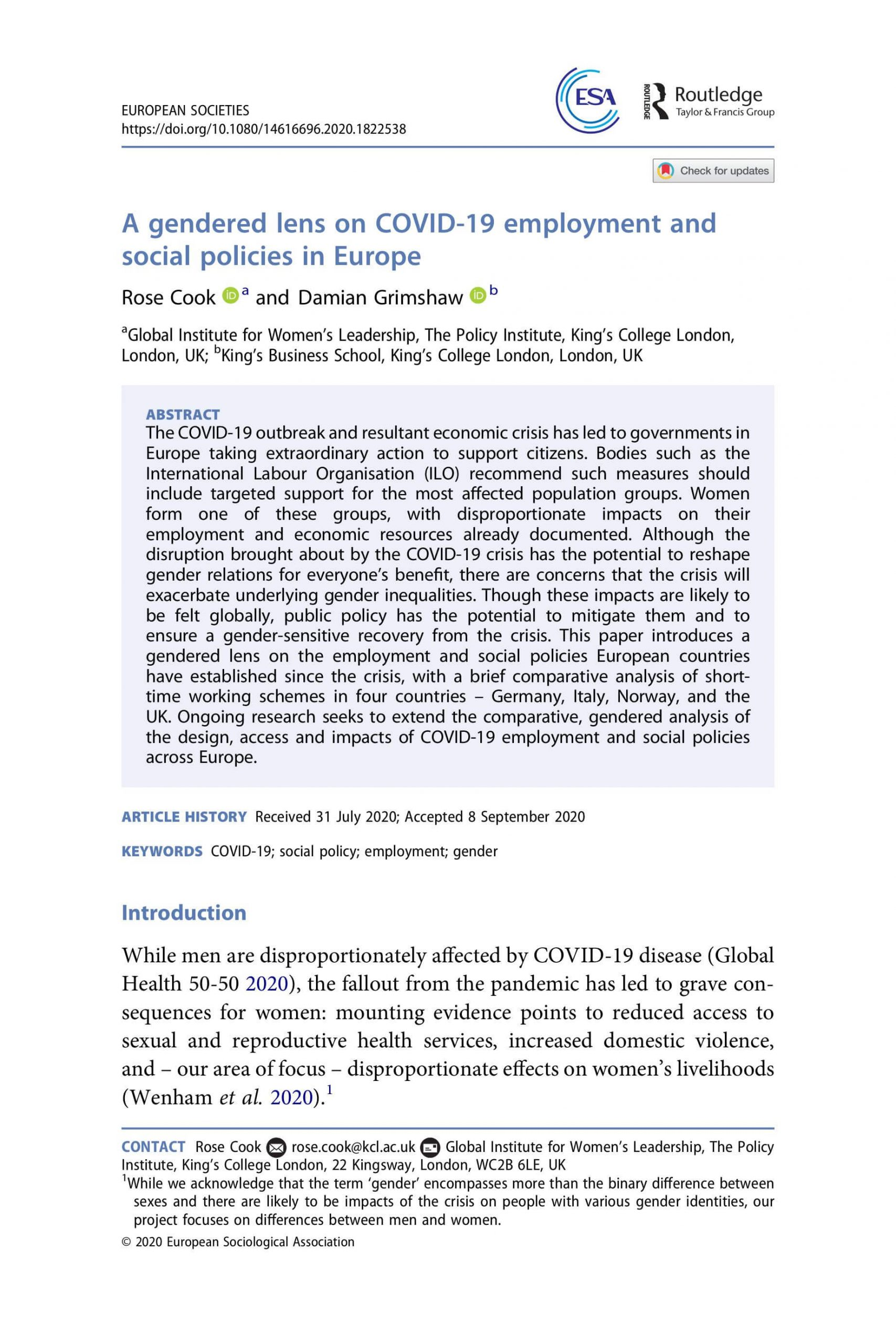 A gendered lens on COVID-19 employment and social policies in Europe