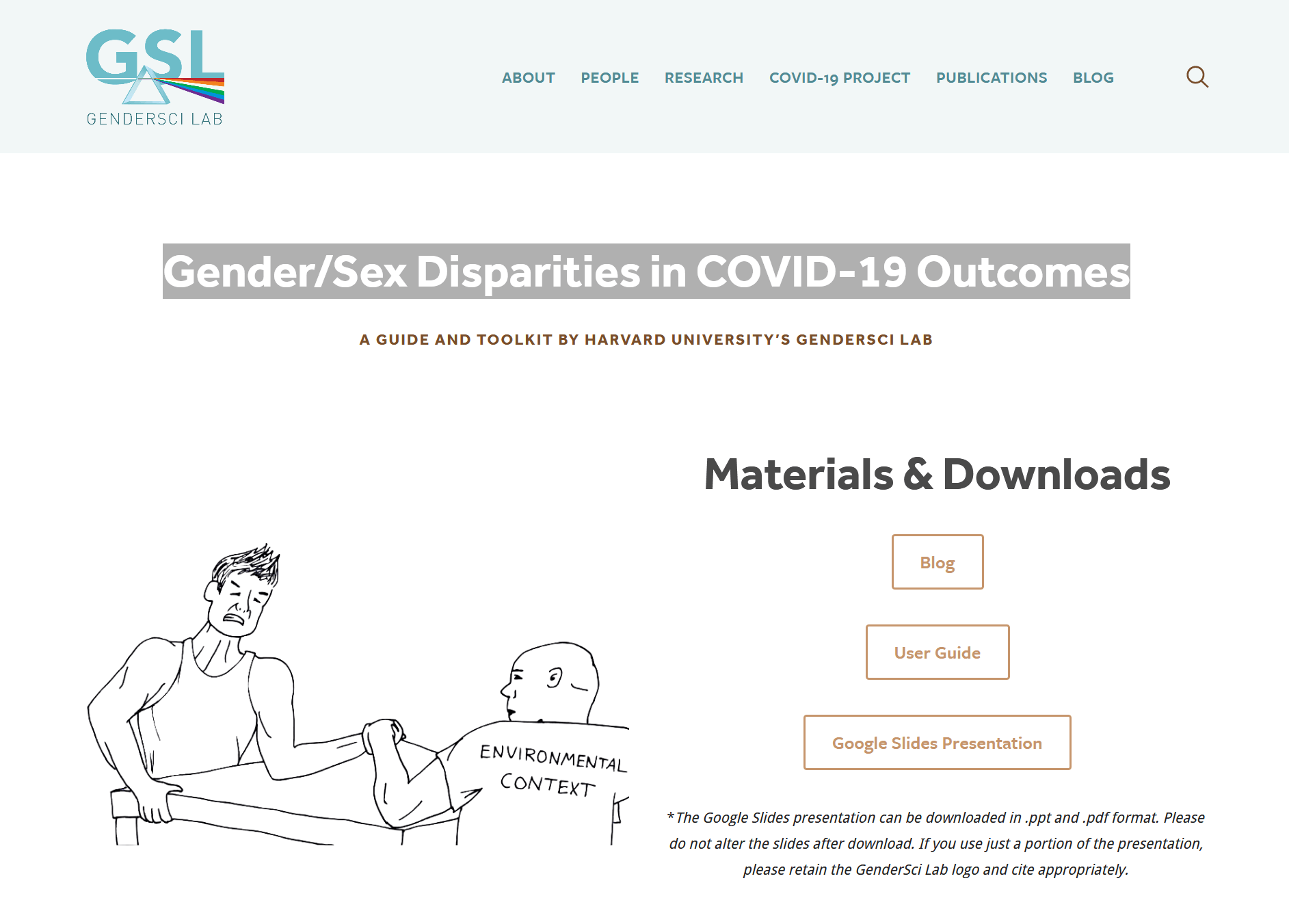 Gender/sex disparities in COVID-19 outcomes: A guide and toolkit by Harvard University's GenderSci Lab