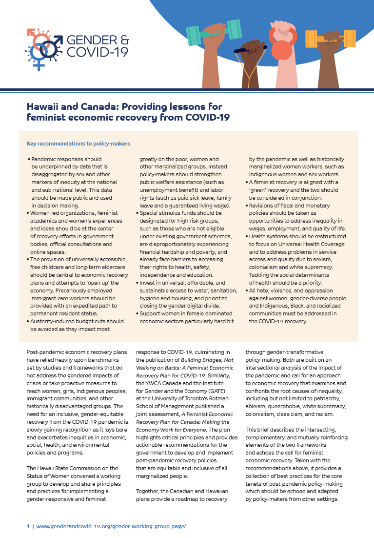 Hawaii and Canada Providing lessions for Feminist economic recovery from COVID 19