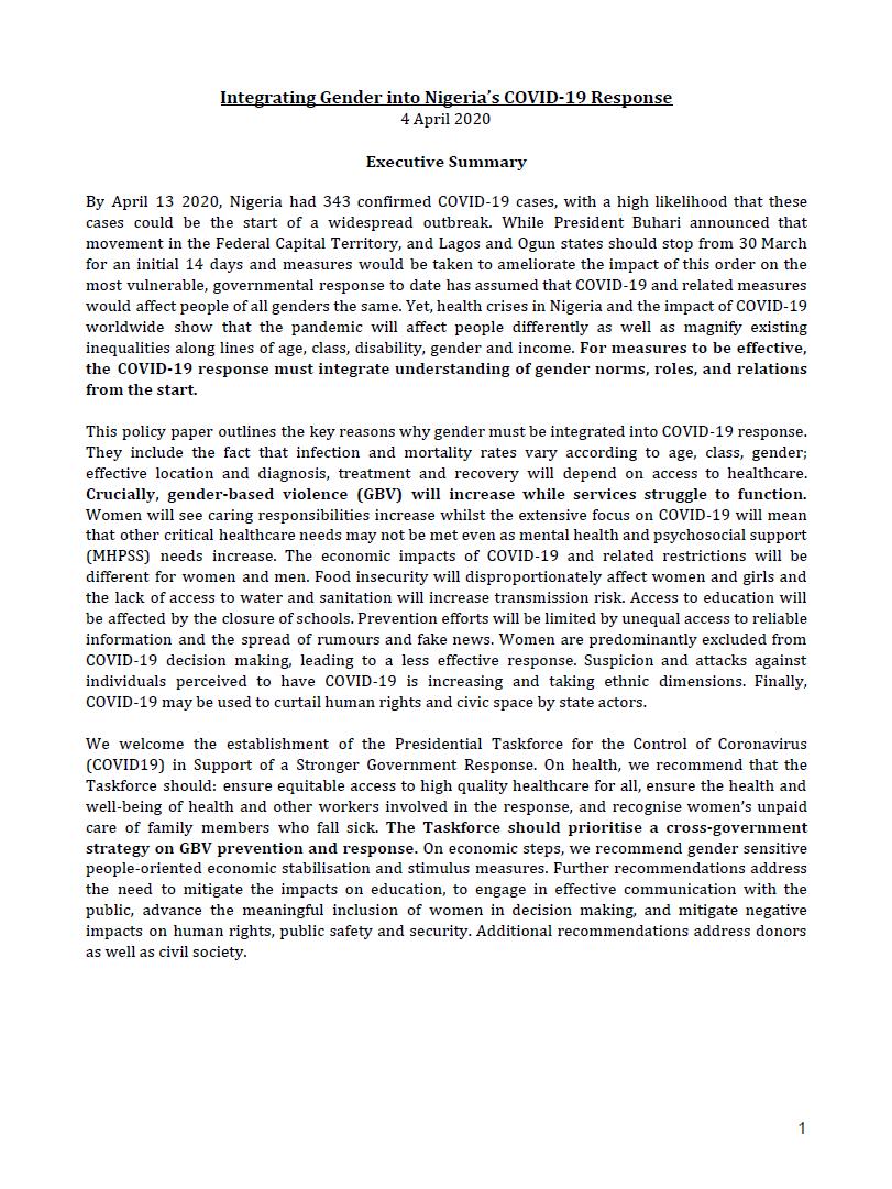 Integrating Gender into Nigeria's COVID-19 Response