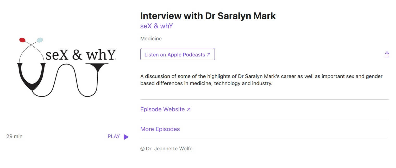 seX & whY podcast: Interview with Dr Saralyn Mark