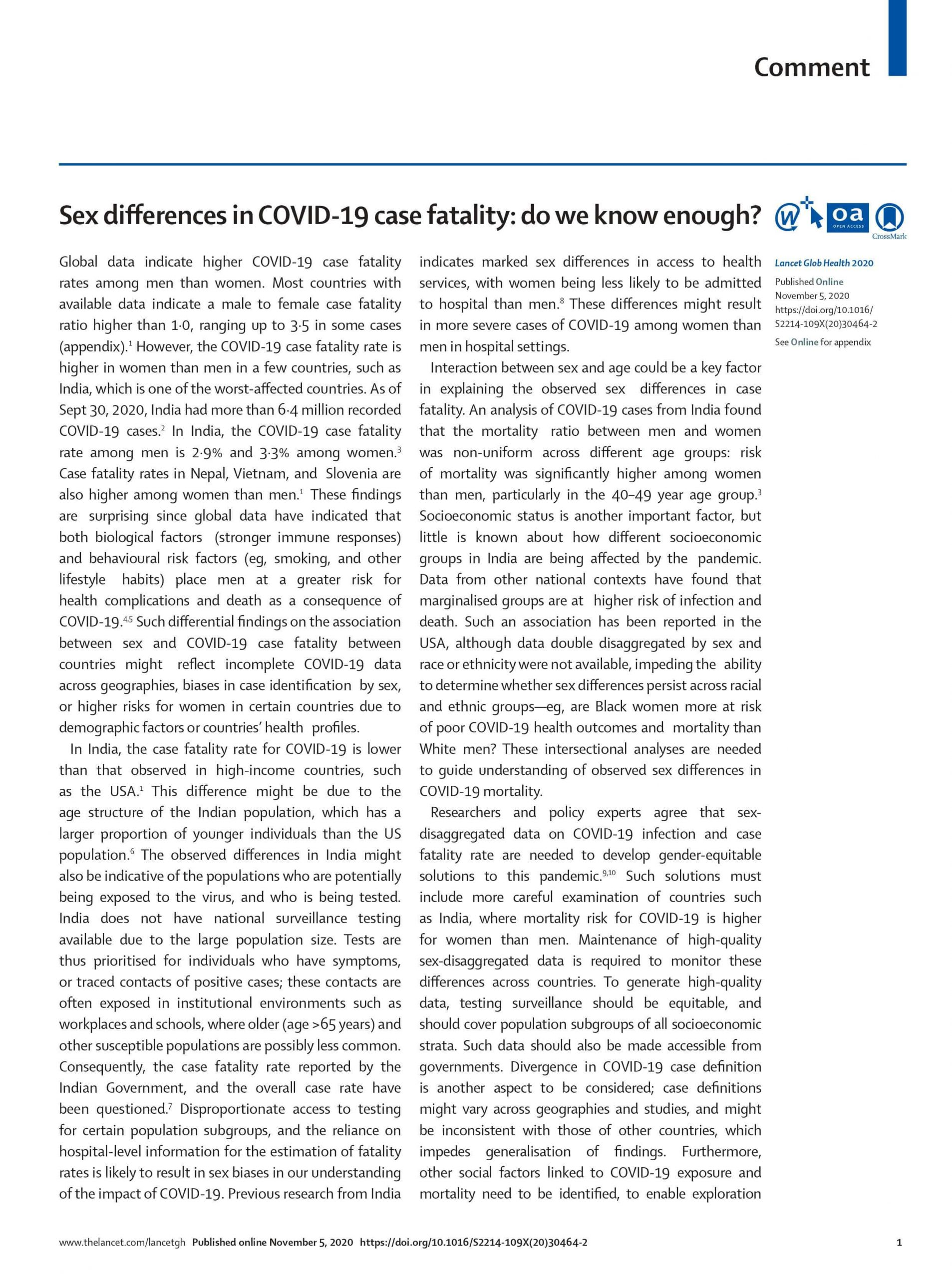 Sex differences in COVID-19 case fatality