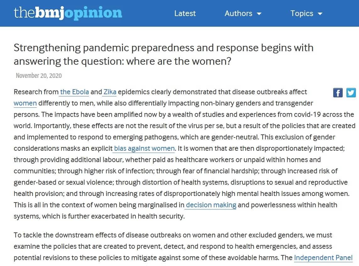 Strengthening pandemic preparedness and response begins with answering the question: Where are the women?
