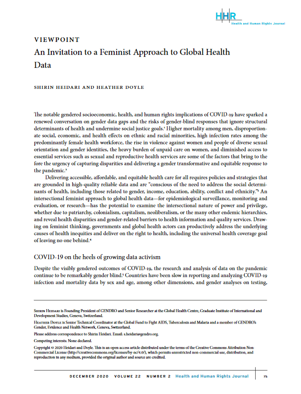 An Invitation to a Feminist Approach to Global Health Data