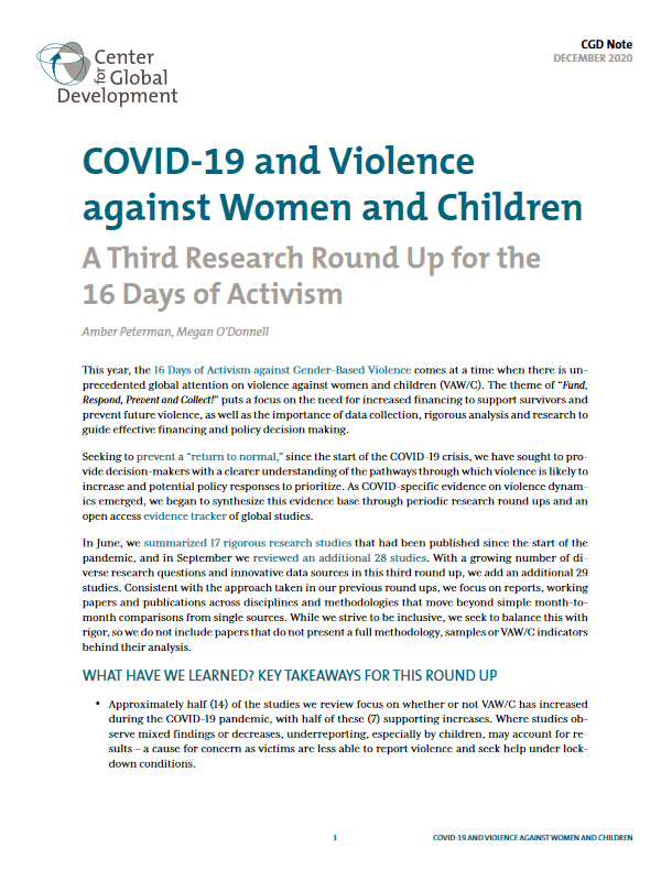 COVID-19 and Violence against Women and Children