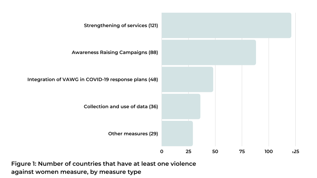 Number of countries that have at least one violence against women measure, by measure type