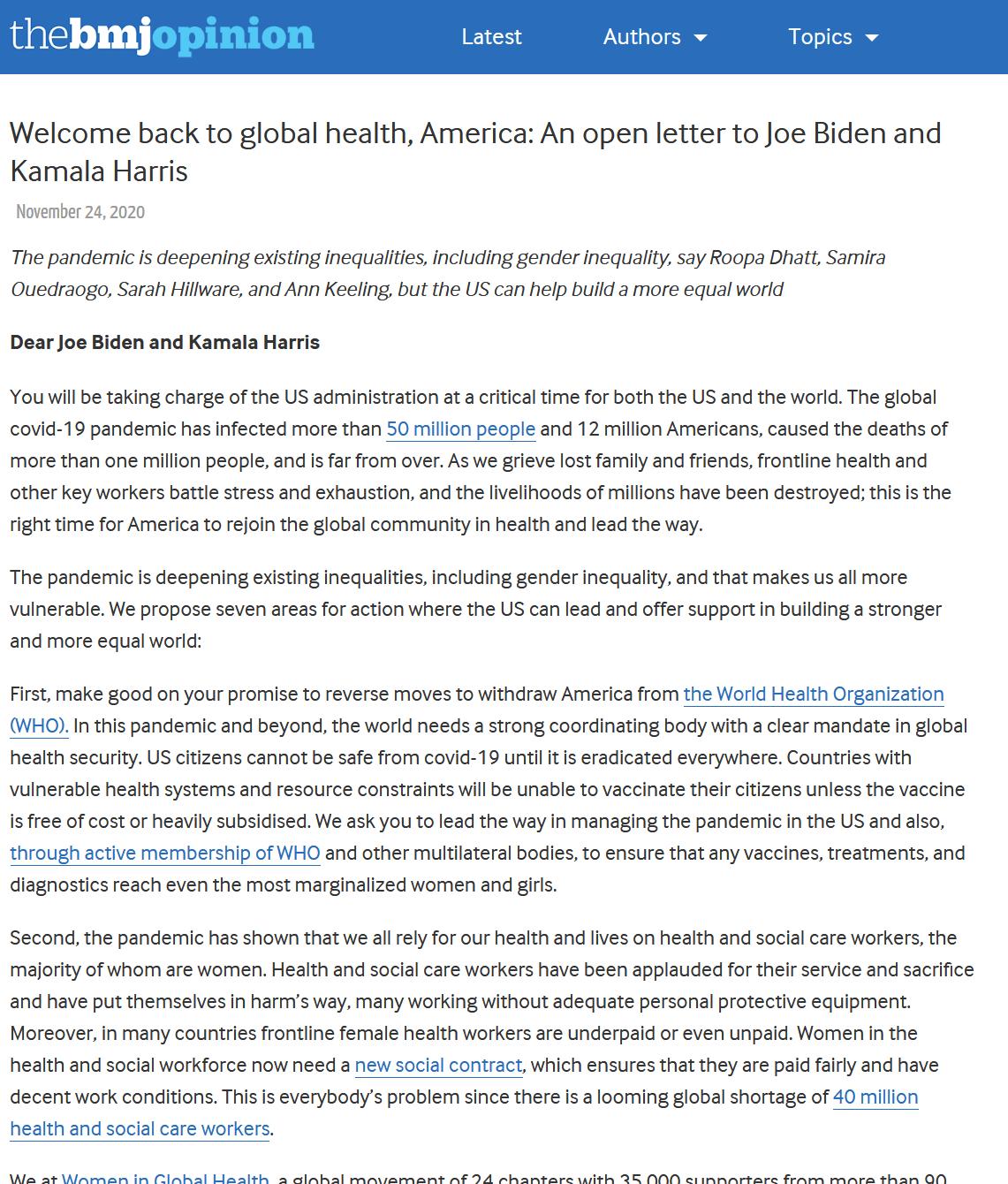 Welcome back to global health, America An open letter to Joe Biden and Kamala Harris