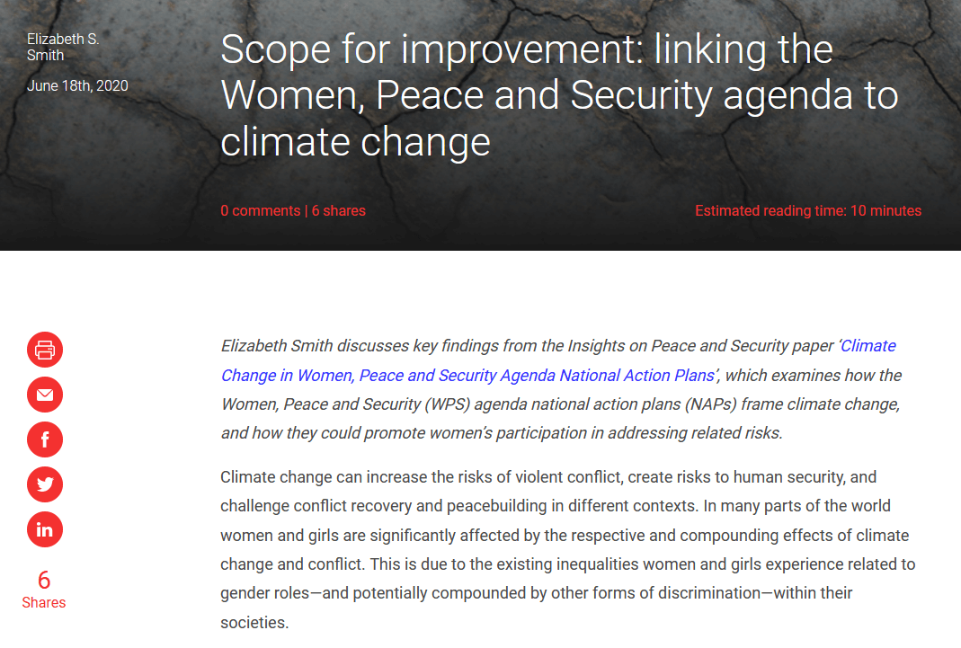 Linking the Women, Peace and Security agenda to climate change