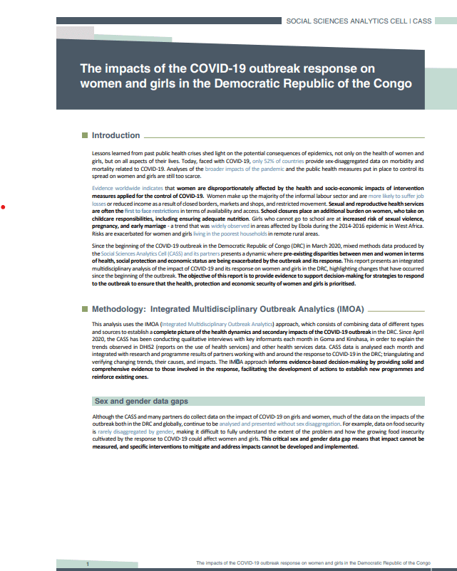 The impacts of the COVID-19 outbreak response on women and girls in the Democratic Republic of the Congo