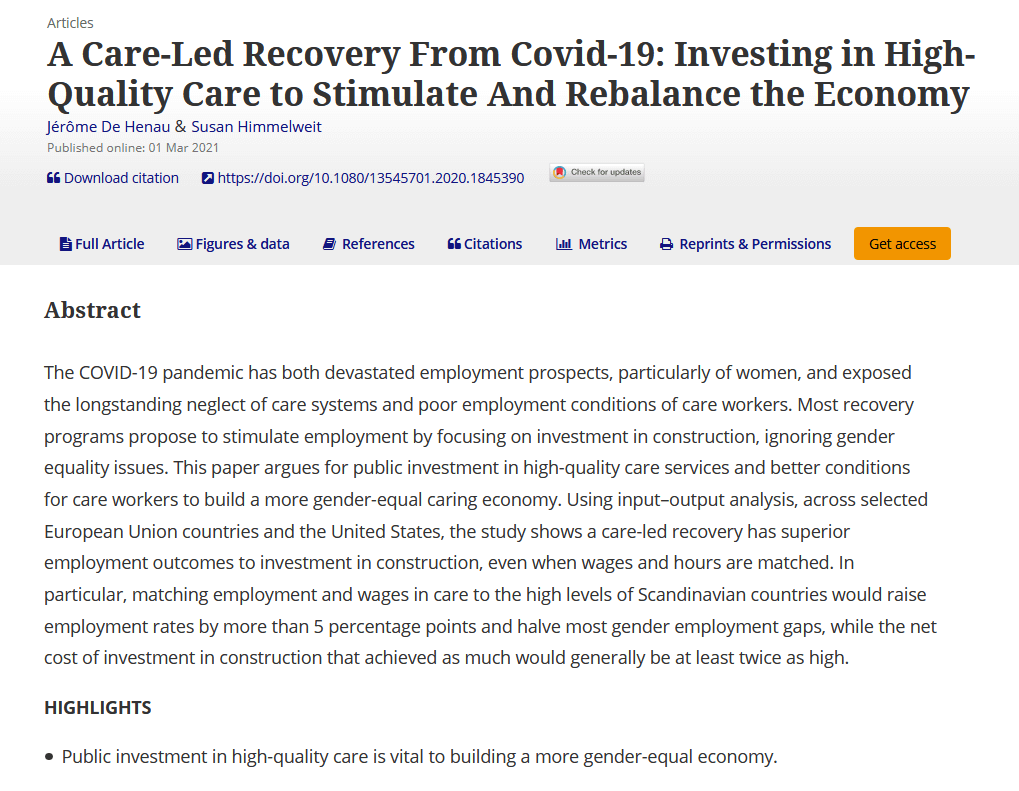 A care-Led recovery from COVID-19: Investing in high-quality care to stimulate and rebalance the economy