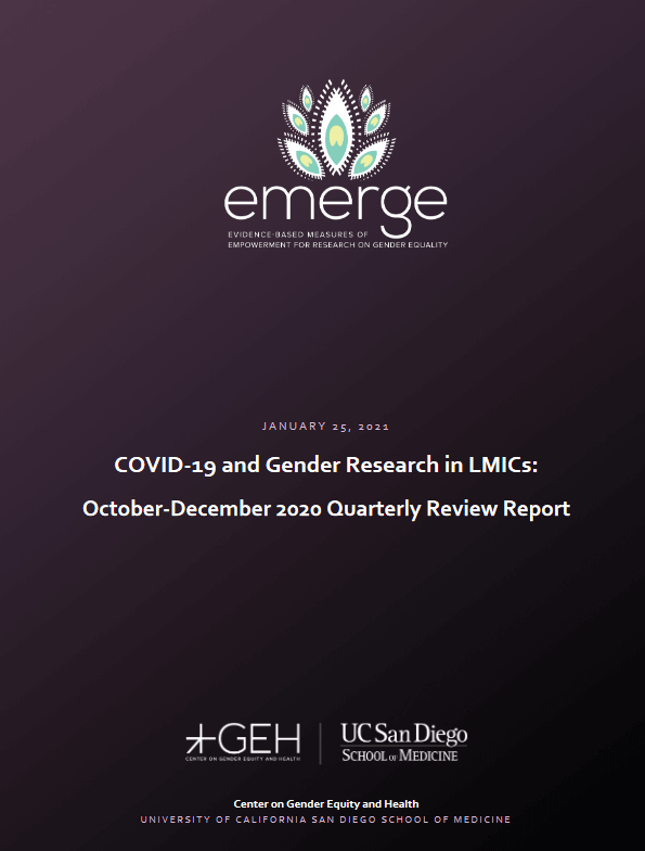 COVID-19 and Gender Research in LMICs - October-December 2020 Quarterly Review Report