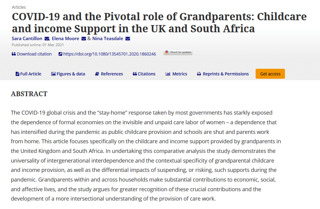 COVID-19 and the pivotal role of grandparents: Childcare and income support in the UK and South Africa